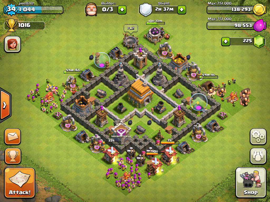Clash of clans Town Hall 6 Trophy Base - 7