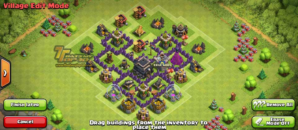 Of clans town hall level 5 defense th5 war base 7 thats my top 10