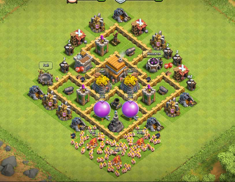 Clash of clans town hall level 5 defense th5 war base 9 thats my