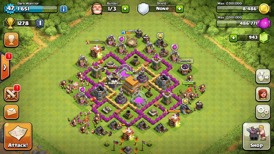 Clash of clans Town Hall 6 Trophy Base - 1