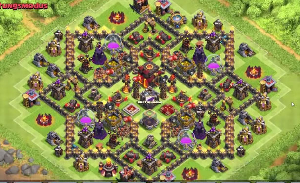 clash of clans town hall level 10 defense base design