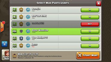 Clash of Clans - Select war members - Thats My Top 10