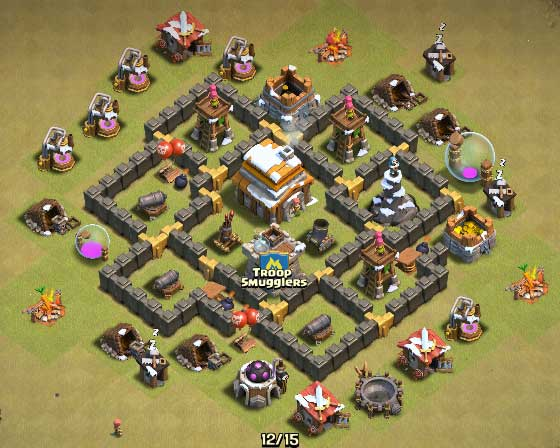Clash Of Clans Town Hall Level 5 Defense - TH5 War Base 8 - Thats My Top 10